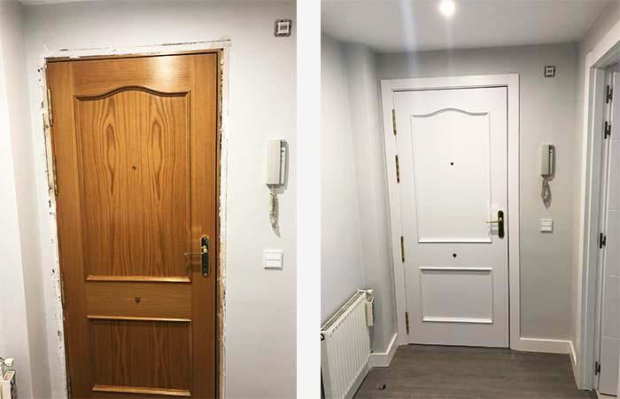 Antes y despues de puertas pintadas